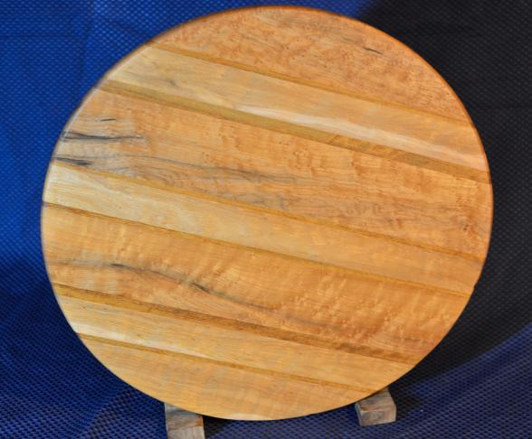 "Lazy Susan 15 - 026. Birdseye Maple (which is a uniquely figured Hard Maple) & Teak. 17"" diameter x 3/4""."