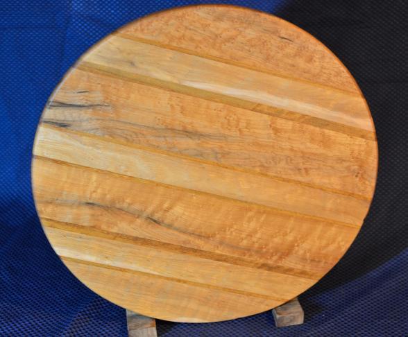 "Lazy Susan 15 - 026. Birdseye Maple (which is a uniquely figured Hard Maple) & Teak. 17"" diameter x 3/4""."