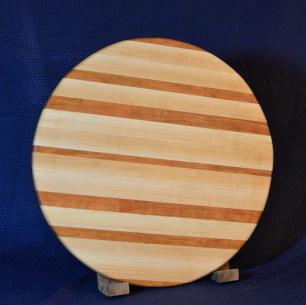 "Lazy Susan # 15 - 028. Cherry and Hard Maple. 17"" diameter x 3/4""."