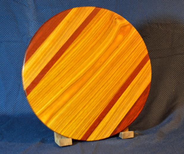 "Lazy Susan # 15 - 036. Jarrah & Canarywood. 17"" diameter x 3/4"". The colors are just about perfect in this photo: this piece is colorful!"