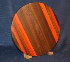 "Lazy Susan # 15 - 037. Black Walnut & Padauk. 17"" diameter x 3/4"". Please note that the Padauk will transition from this bright orange to a more warm brown color with UV exposure."