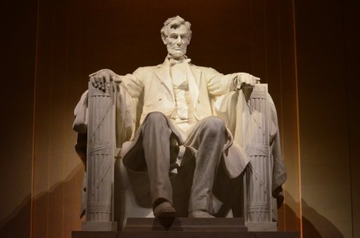 Abraham Lincoln, seated in the Lincoln Memorial & overlooking the Capital Mall. Photo by Lisa Locke. Tweeted by the US Department of the Interior, 2/12/16.