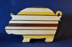 "Pig # 15 - 13. Black Walnut, Hard Maple, Yellowheart and Jatoba. 19"" x 12"" x 1-1/8""."
