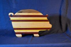 "Pig # 15 - 15. Black Walnut, Bloodwood, Yellowheart & Hard Maple. 19"" x 12"" x 1-1/8""."