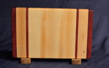 "Small Board # 15 - 058. Purpleheart & Hard Maple. 9"" x 12"" x 1-1/4""."