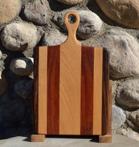 """Sous Chef # 15 - 53. Black Walnut, Hard Maple & Jatoba. 9"""" x 16"""" x 3/4"""". Sold in its first showing."""