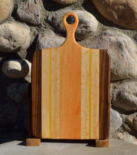 "Sous Chef # 15 - 55. Black Walnut, Hard Maple, Yellowheart & Honey Locust. 9"" x 16"" x 3/4""."