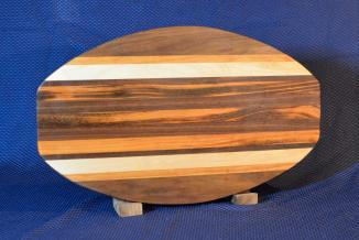"Surfboard 15 - 31. Black Walnut, Cherry, Hard Maple & Goncalo Alves. 12"" x 19"" x 1-1/4""."