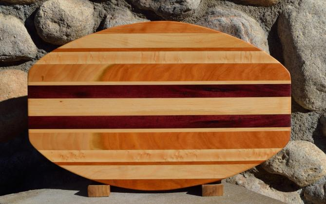 "Surfboard # 15 - 39. Curly Cherry, Hard Maple & Purpleheart. 12"" x 19"" x 1-1/4""."