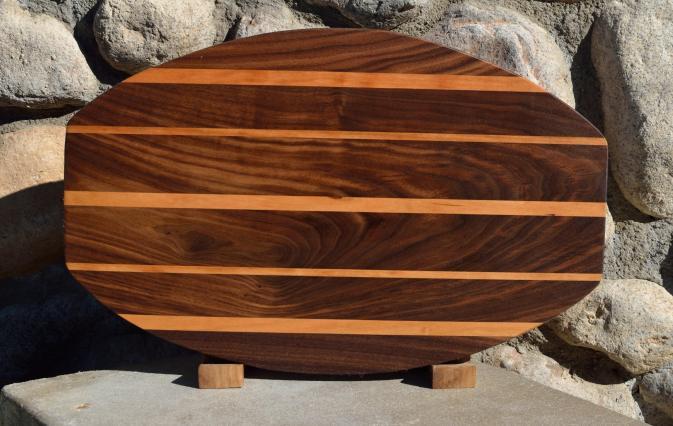 """Surfboard # 15 - 41. Black Walnut & Cherry. 12"""" x 19"""" x 1-1/4""""."""