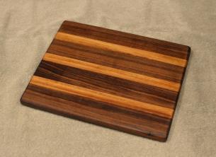 """Cheese Board # 15 - 065. Black Walnut & Teak. 8"""" x 11"""" x 3/4""""."""