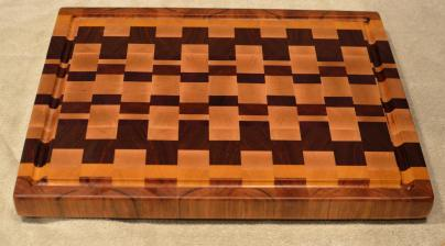 "Cutting Board # 15 - 090. Cherry, Yellowheart, Hard Maple, Padauk & Jatoba. End Grain with Juice Groove. 16"" x 20"" x 1-1/2""."