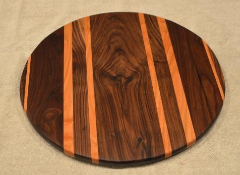 "Lazy Susan # 15 - 045. Black Walnut & Cherry. 17"" diameter x 3/4""."