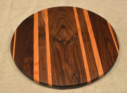 "Lazy Susan # 15 - 045. Black Walnut & Cherry. 17"" diameter x 3/4""."