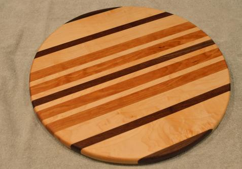 "Lazy Susan # 15 - 050. Black Walnut, Hard Maple & Cherry. 17"" diameter x 3/4""."