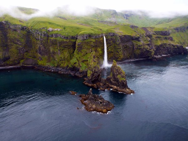 Waterfall on the coast of Alaska's Tagana Island. Tweeted by the US Department of the Interior, 12/11/15.