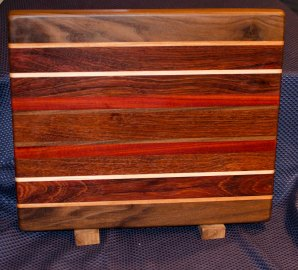 "Cutting Board 16 - Edge 001. Black Walnut, Cherry, Hard Maple, Jatoba, Bloodwood. Edge Grain. 12"" x 16"" x 1-1/4""."