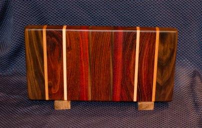 """Small Board 16 - 002. Black Walnut, Cherry, Jatoba, Hard Maple, Bloodwood & Jarrah. 7"""" x 12"""" x 1-1/4""""."""