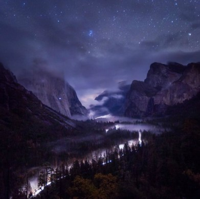 Low fog through Yosemite Valley and bright stars created this amazing moment at Yosemite National Park in California. Toby Harriman snapped this photo from the park's Tunnel View. His favorite part of the photo: The climber's headlamp that is visible mid way up El Capitan on the left. Posted on Tumblr by the US Department of the Interior, 1/2/16.