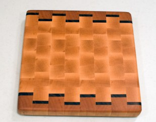 "Small Board 16 - 002. Cherry, Black Walnut & Hard Maple. End Grain. 9"" x 9"" x 1""."