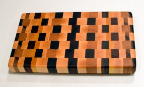 "Small Board 16 - 006. Hard Maple, Black Walnut, Padauk, Yellowheart & Jatoba. End grain. 8"" x 14"" x 1-3/8""."