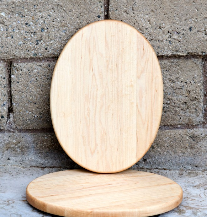 "Cheese Board 16 - 002. Hard Maple. 9"" x 12"" oval, 3/4"" thick."