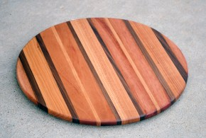 "Lazy Susan 16 - 003. Mahogany, Black Walnut, Cherry. 17-1/2"" diameter."