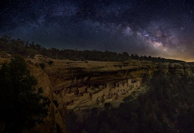 The Milky Way over the Cliff Dwellings in Mesa Verde National Park. Photo by Thomas Piekunka. Tweeted by the US Department of the Interior, 3/10/16.