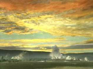 Sunset at Old Faithful, Upper Geyser Basin, Yellowstone National Park. Photo by Henry G Peabody. From the Park's Historic Photos Collection, circa 1928.