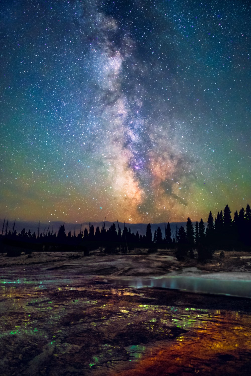 In every season, at every hour, Yellowstone National Park in Wyoming is a stunning and surprising landscape. Remote enough for dark skies to allow the Milky Way to shine and featuring steam rising from hot springs tinted with colorful bacteria and reflecting the aurora borealis, a night in the park offers enough wonders for a lifetime. Photo courtesy of Bryony Richards. Posted on Tumblr by the US Department of the Interior, 3/27/16.