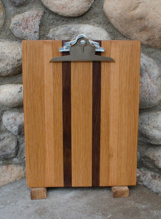 "Clipboard 16 - 003. Black Walnut, White Oak & Cherry. Letter size. 1"" capacity clip."