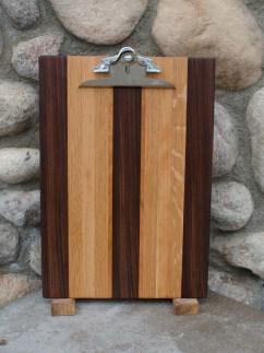 "Clipboard 16 - 002. Black Walnut, White Oak & Cherry. Legal size. 1"" capacity clip."