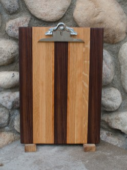 "Clipboard 16 - 002. Black Walnut, White Oak & Cherry. Legal size. 1"" capacity clip."