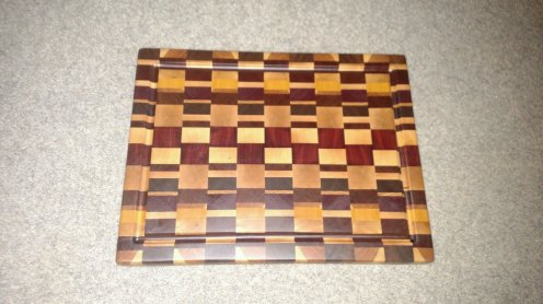 "Cutting Board 16 - End 026. End grain, Juice Groove. Cherry, Black Walnut, Hard Maple, Yellowheart, Jarrah, Jatoba, Red Oak. 13-1/2"" x 17-1/2"" x 1-1/2""."
