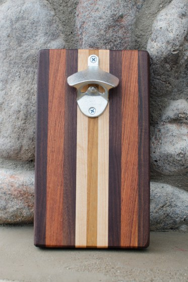 "Magic Bottle Opener 16 - 07. Black Walnut, Jatoba, Hard Maple & Teak. Approximately 5"" x 10"" x 3/4""."