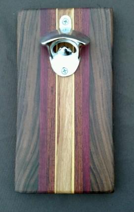 Magic Bottle Opener 16 - 022. Black Walnut, Purpleheart, Padauk, Yellowheart & Canarywood.