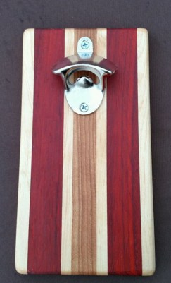 Magic Bottle Opener 16 - 052. Cherry, Hard Maple & Padauk. Double Magic for refrigerator mount.