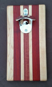 Magic Bottle Opener 16 - 053. Hard Maple, Jarrah & Padauk. Double Magic for refrigerator mount.
