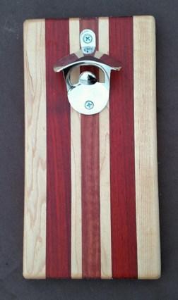 Magic Bottle Opener 16 - 053. Hard Maple, Jarrah & Padauk. Double Magic for refrigerator mount.