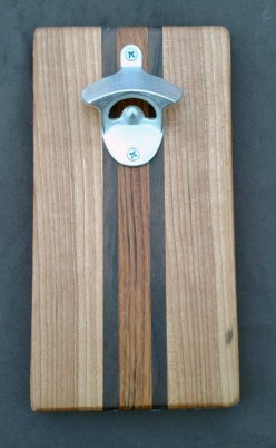 Magic Bottle Opener 16 - 054. Black Walnut, Cherry & Jatoba. Double Magic for refrigerator mount.
