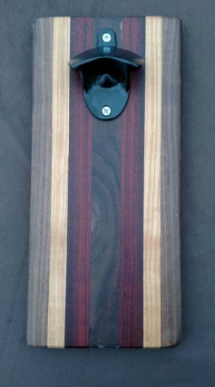 Magic Bottle Opener 16 - 060. Black Walnut, Hard Maple & Bloodwood. Double Magic for refrigerator mount.