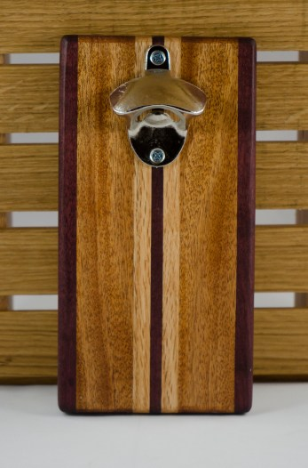 Magic Bottle Opener 16 - 062. Double Magic. Purpleheart, Mahogany & Red Oak.