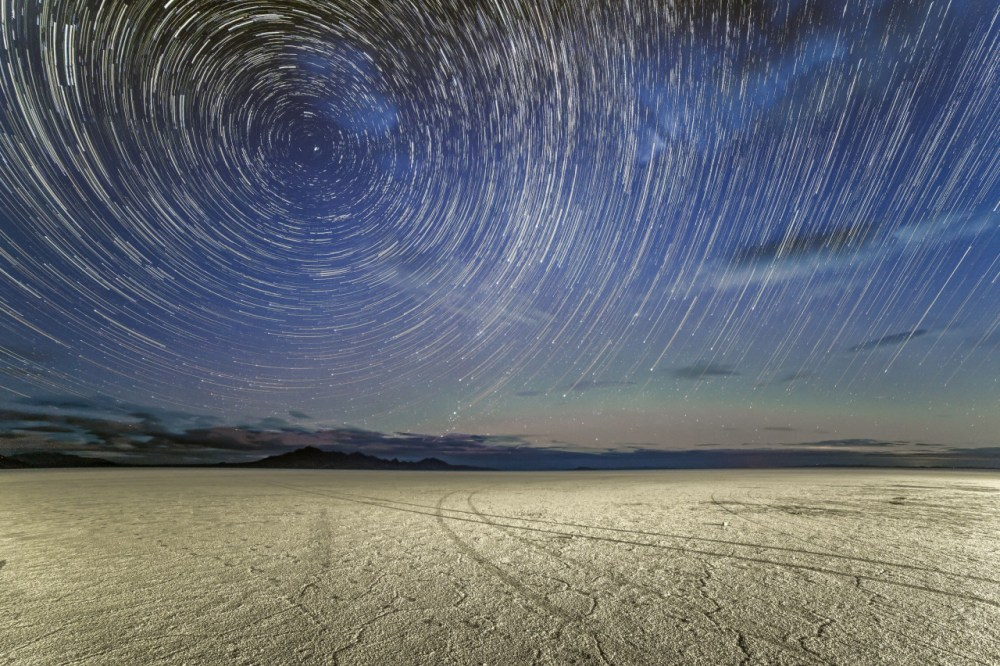 Star trails above the Bonneville Salt Flats in Utah almost look like a tunnel into hyperspace. These salt flats are made of approximately 90 percent common table salt, weighing millions of tons. The crust is up to 5 feet thick near the center of this unbelievable landscape that stretches over 46 square miles – just slightly smaller than the size of San Francisco. Photo by Joseph Gruber. Posted on Tumblr by the US Department of the Interior, 5/4/16.