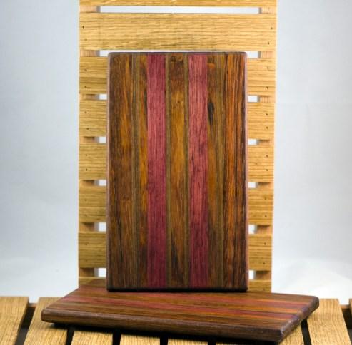 """Cheese Board 16 - 019. Jatoba, Purpleheart & Black Walnut. 7"""" x 11"""" x 3/4""""."""
