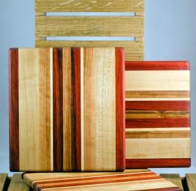 "Cheese Board 16 - 024. Padauk, Hard Maple, Cherry & Black Walnut. 9"" x 11"" x 3/4""."
