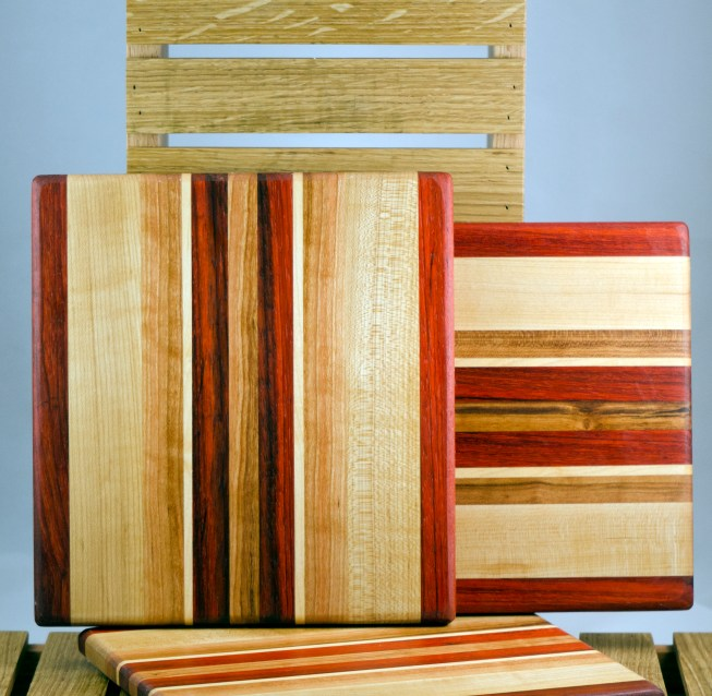 "Cheese Board 16 - 024. Padauk, Hard Maple, Cherry & Black Walnut. 9"" x 11"" x 3/4""."
