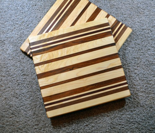 "Cutting Board 16 - Edge 017. Hard Maple, Black Walnut, Purpleheart & Jatoba. 14"" x 14"" x 3/4"". Commissioned pieces."