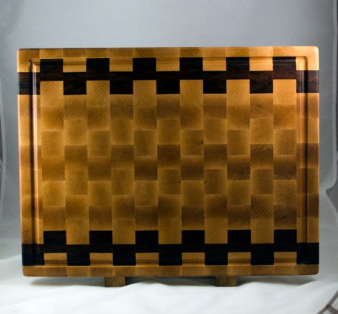 "Cutting Board 16 - End 035. Hard Maple & Jatoba. End Grain, Juice Groove. 16"" x 21-1/2"" x 1-1/2"". $275."