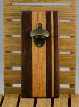 """Magic Bottle Opener 16 - 078. Jatoba, Cherry & Black Walnut. Double magic, so it will mount to your attractive refrigerator. Approximately 5"""" x 11"""" x 3/4""""."""