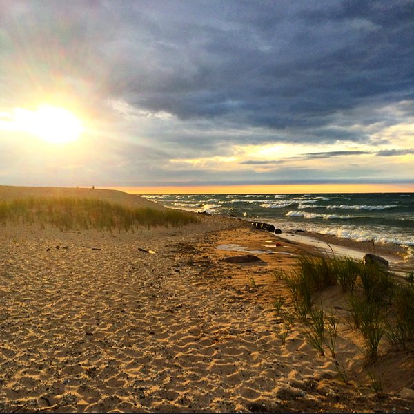 Sleeping Bear Dunes National Lakeshore is located on Lake Michigan. Photo by Lorie D'Elia. Tweeted by the US Department of the Interior, 5/27/16.